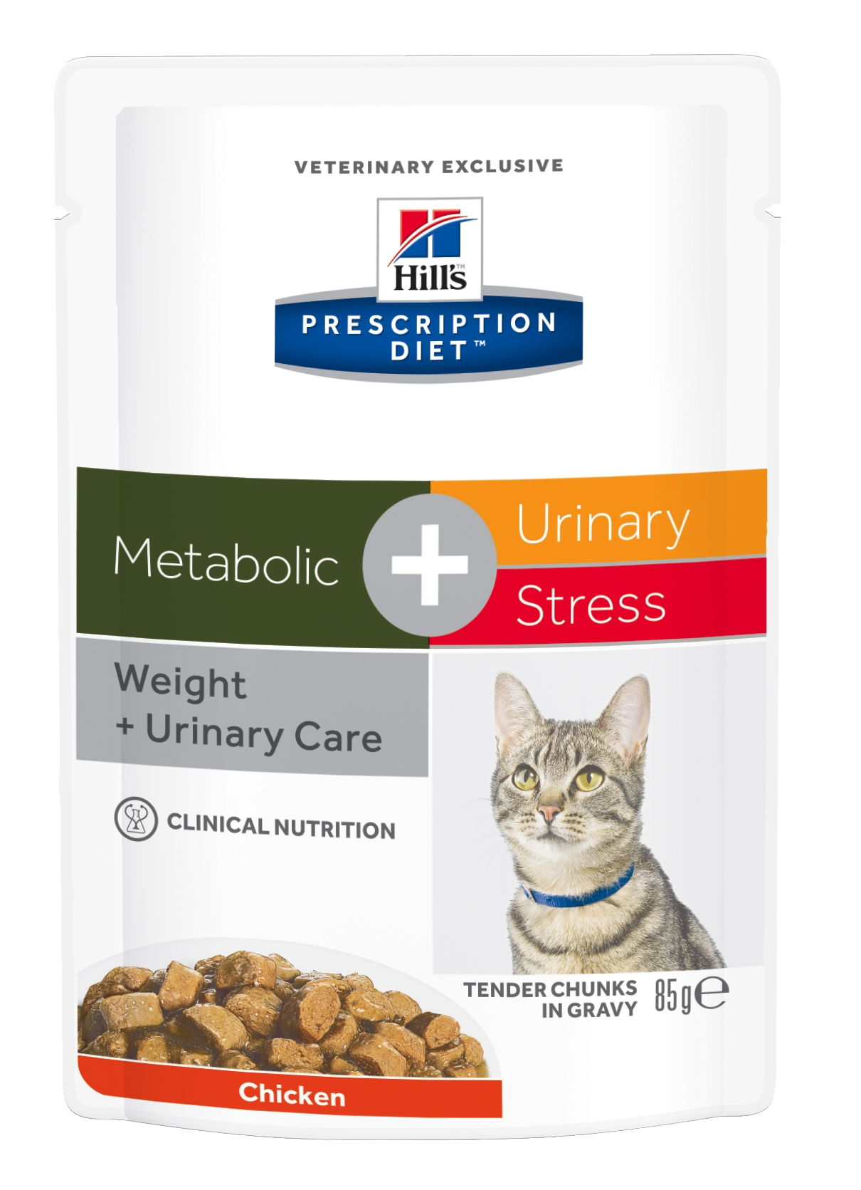 Hill's PD Metabolic + Urinary Stress hrana pentru pisici cu pui, 85 g (plic) imagine