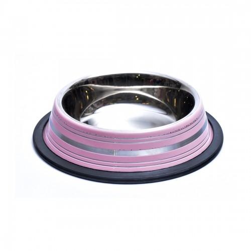 Castron antiderapant din inox, Enjoy, roz, 0.25 L imagine