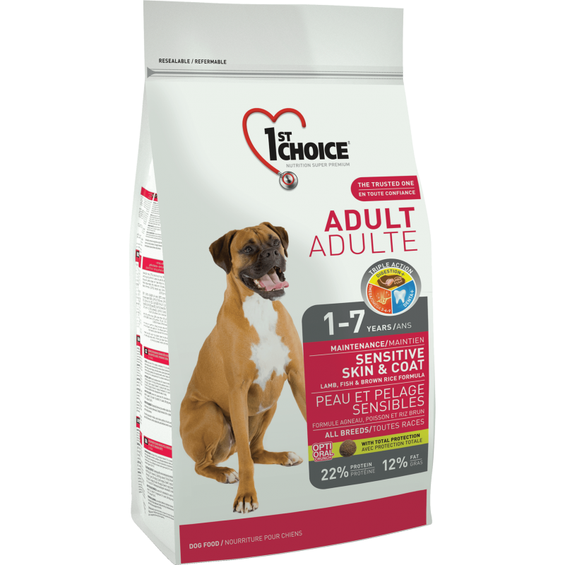 1St Choice Dog Adult All Breeds Sensitive Skin & Coat, 15 Kg imagine