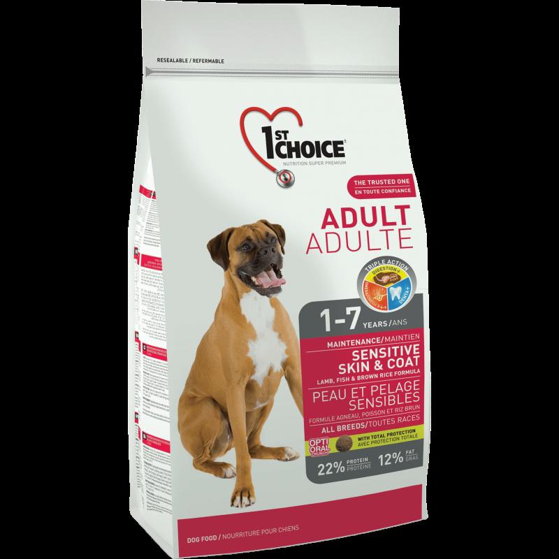 1st Choice Dog Adult All Breeds Sensitive Skin & Coat, 350 G