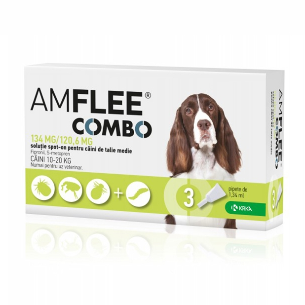 AMFLEE COMBO DOG, 134 mg M (10-20 kg) x 3 pipete imagine
