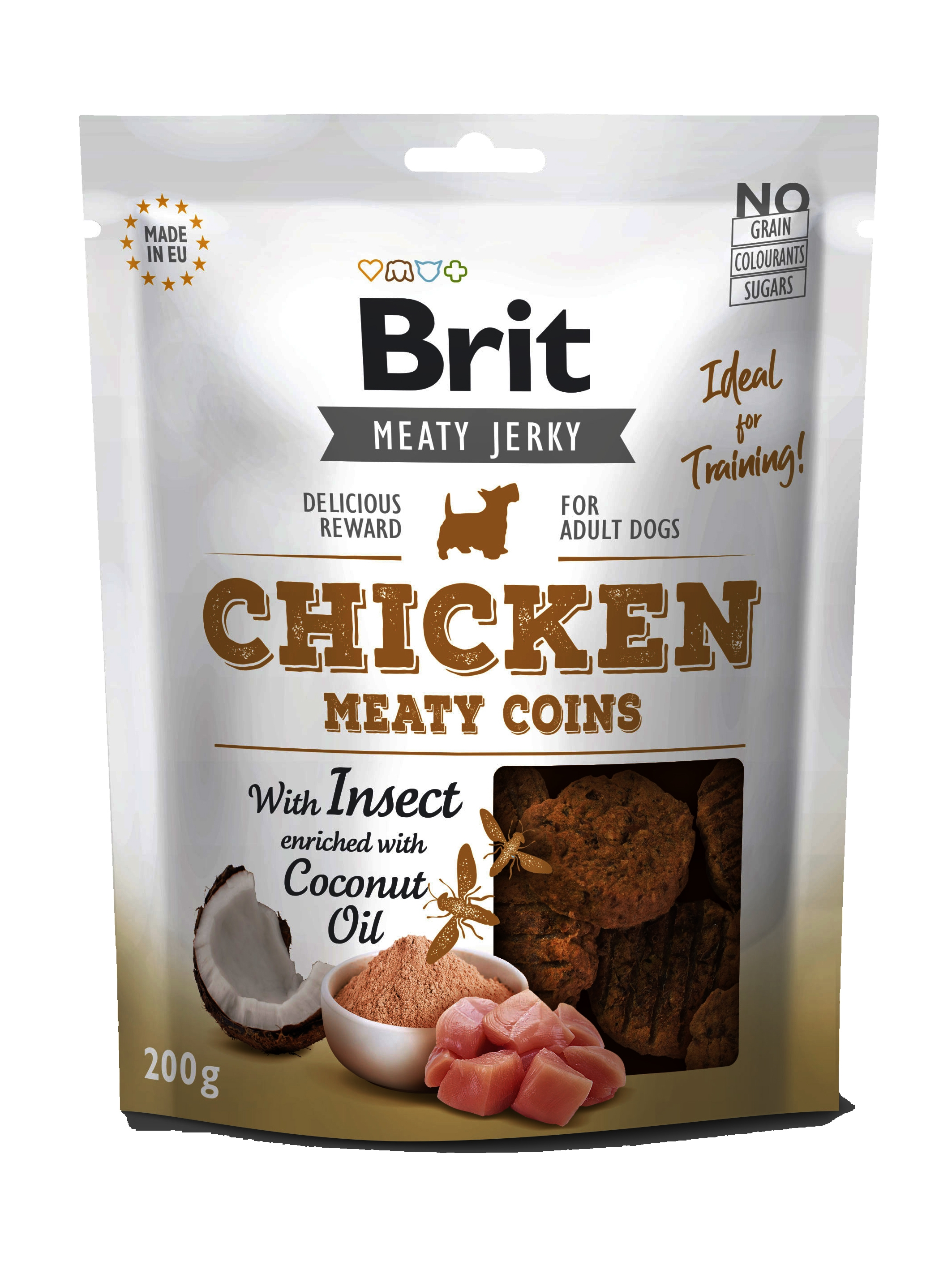 Brit Dog Jerky Chicken With Insect Meaty Coins, 200 g imagine
