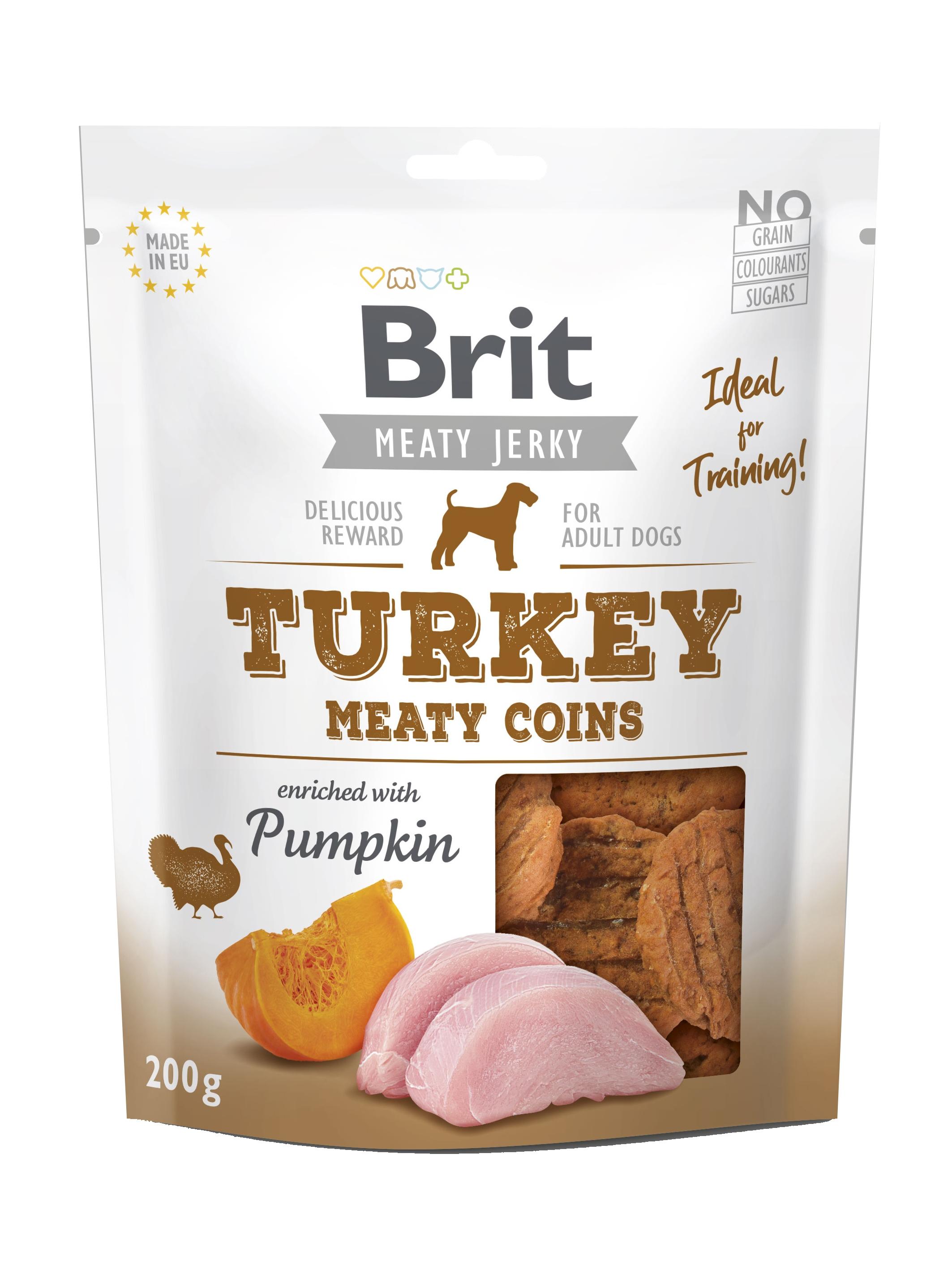 Brit Dog Jerky Turkey Meaty Coins, 200 g imagine