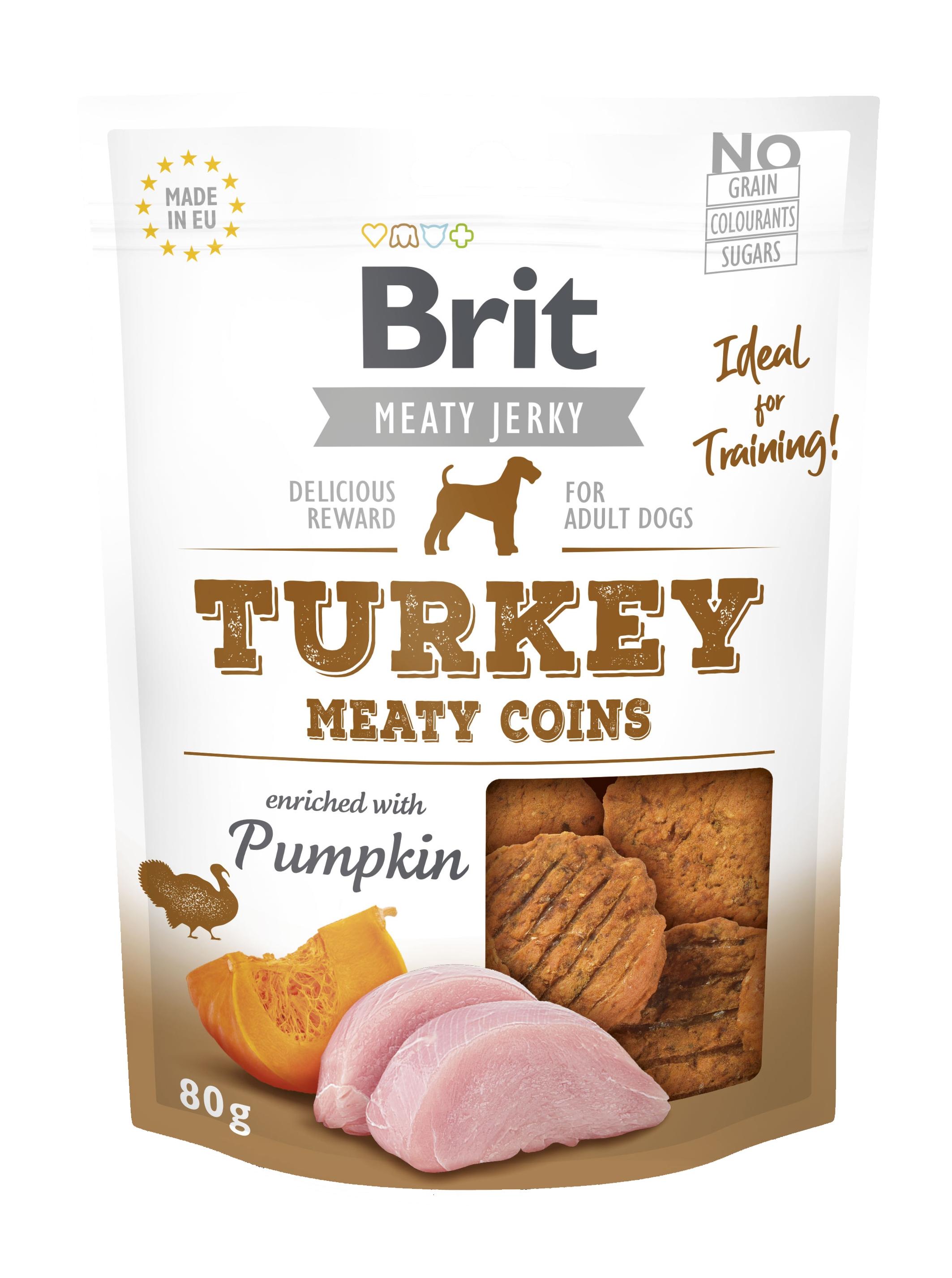 Brit Dog Jerky Turkey Meaty Coins, 80 g imagine