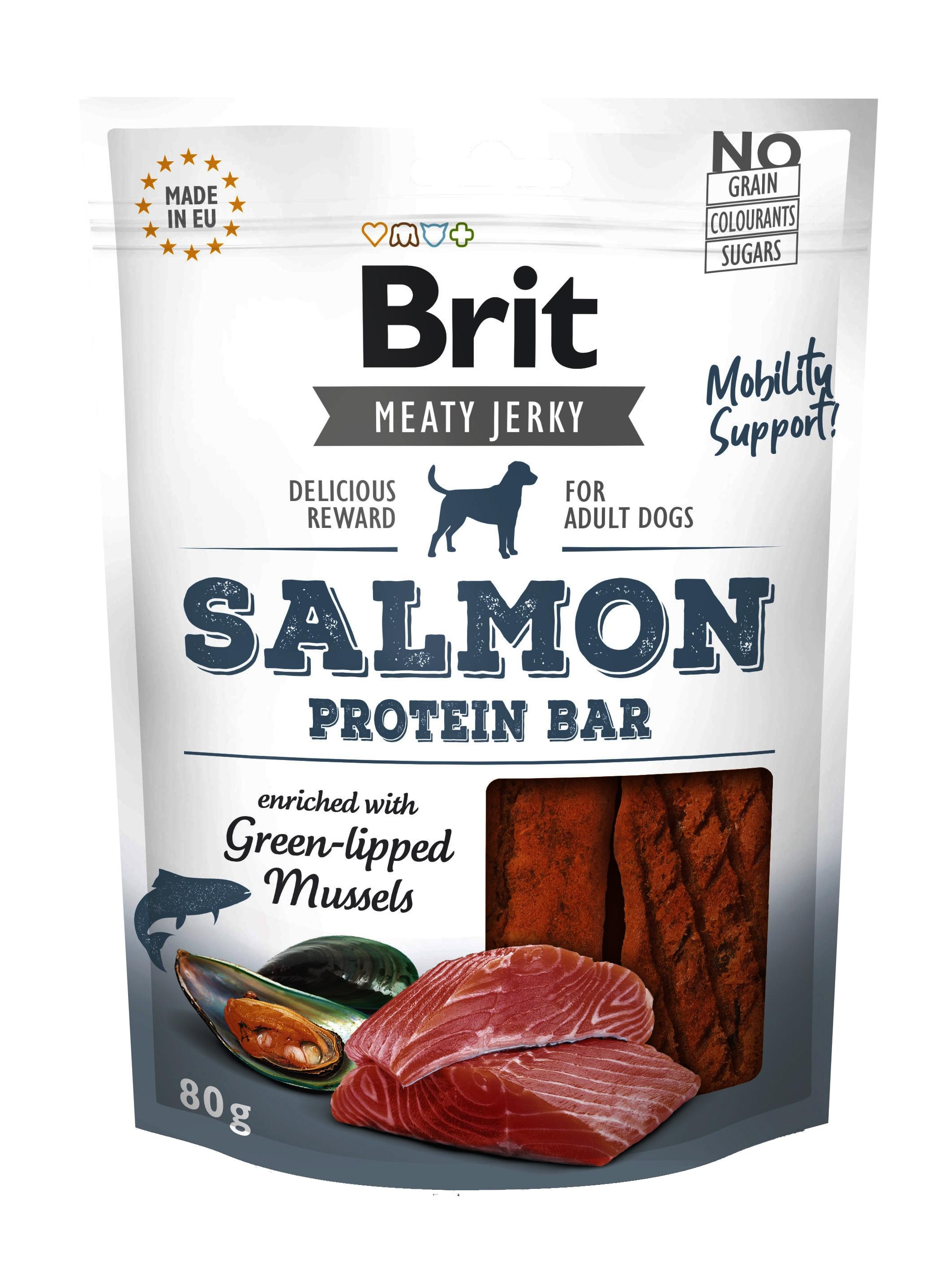 Brit Dog Jerky Salmon Protein Bar, 80 g imagine