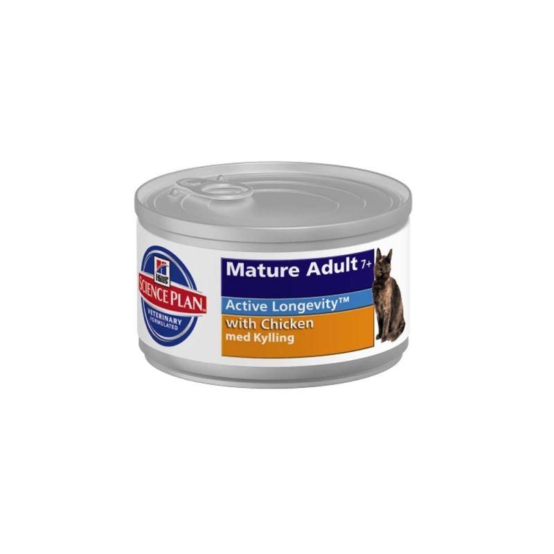 Hill's SP Mature Adult 7 Plus hrana pentru pisici cu pui, 82 g (conserva) imagine