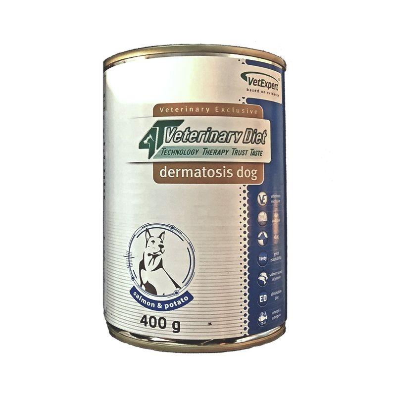 4T- Dieta umeda Dermatosis dog Somon & Cartof, 400 g imagine