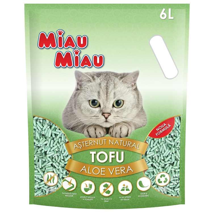 Asternut natural din tofu, Miau Miau, Aloe Vera, 6l imagine