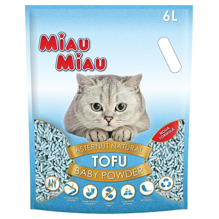 Asternut natural din tofu, Miau Miau, Baby Powder, 6l imagine