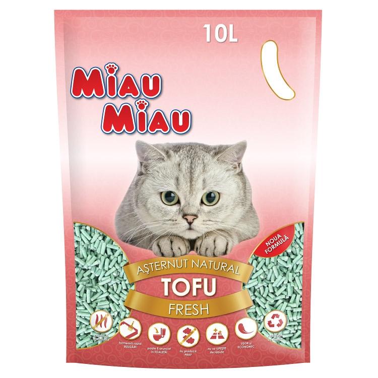 Asternut natural din tofu, Miau Miau, Fresh, 10l imagine