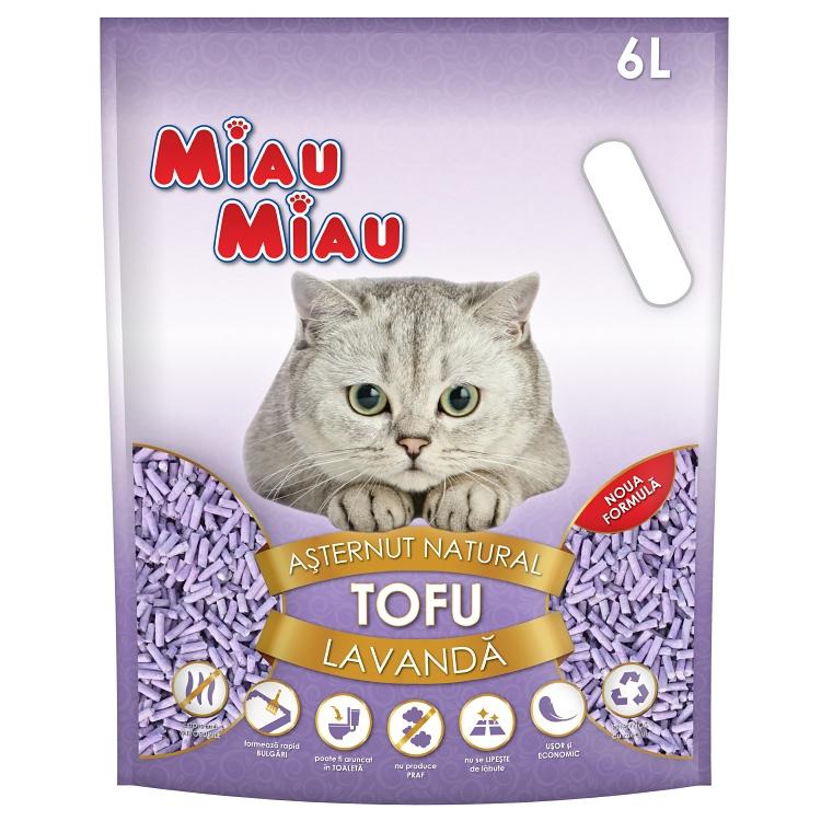 Asternut Natural Din Tofu, Miau Miau, Lavanda, 6l imagine