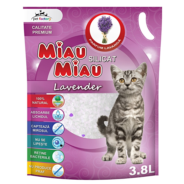 Asternut silicatic, Miau Miau, Lavanda, 3.8l imagine