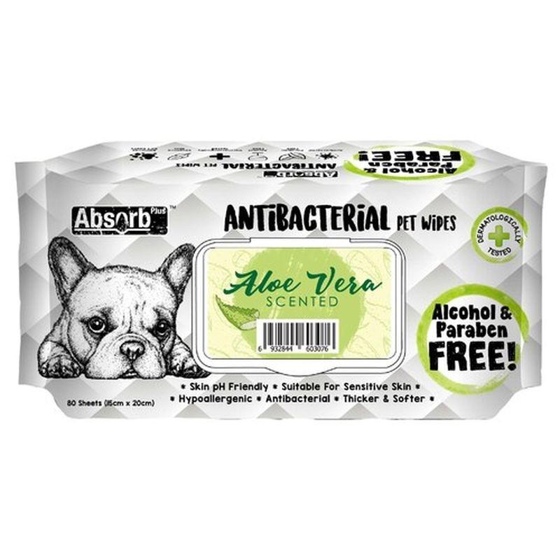 Absorbant Plus Antibacterian Pet Wipes Aloe Vera, 80 bucati imagine