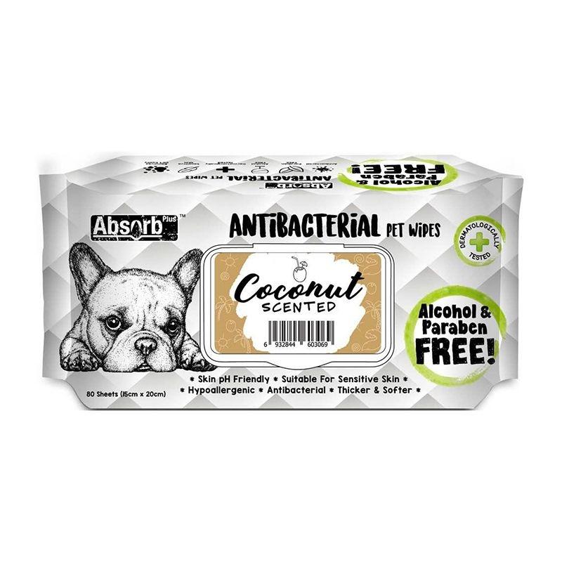 Absorbant Plus Antibacterian Pet Wipes Cocos, 80 bucati imagine