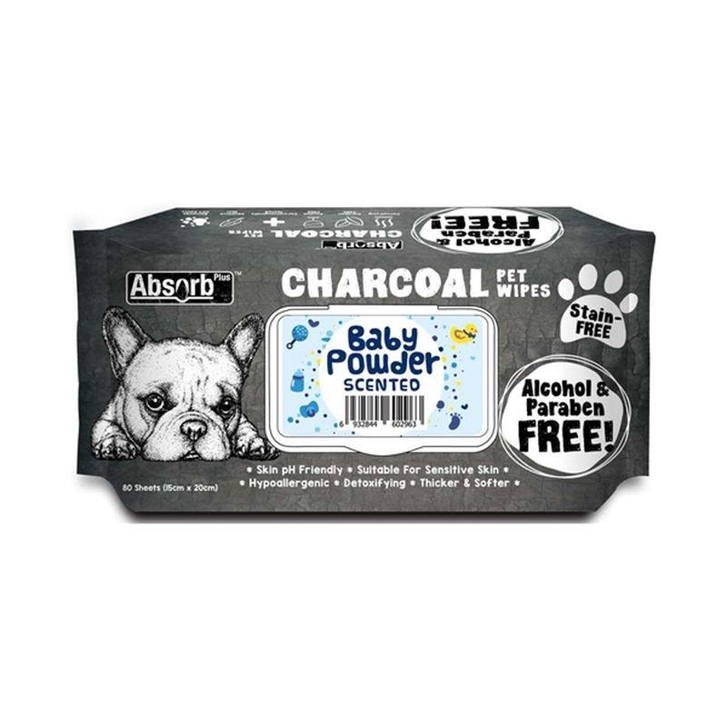 Absorbant Plus Charcoal Pet Wipes Baby Powder, 80 bucati imagine