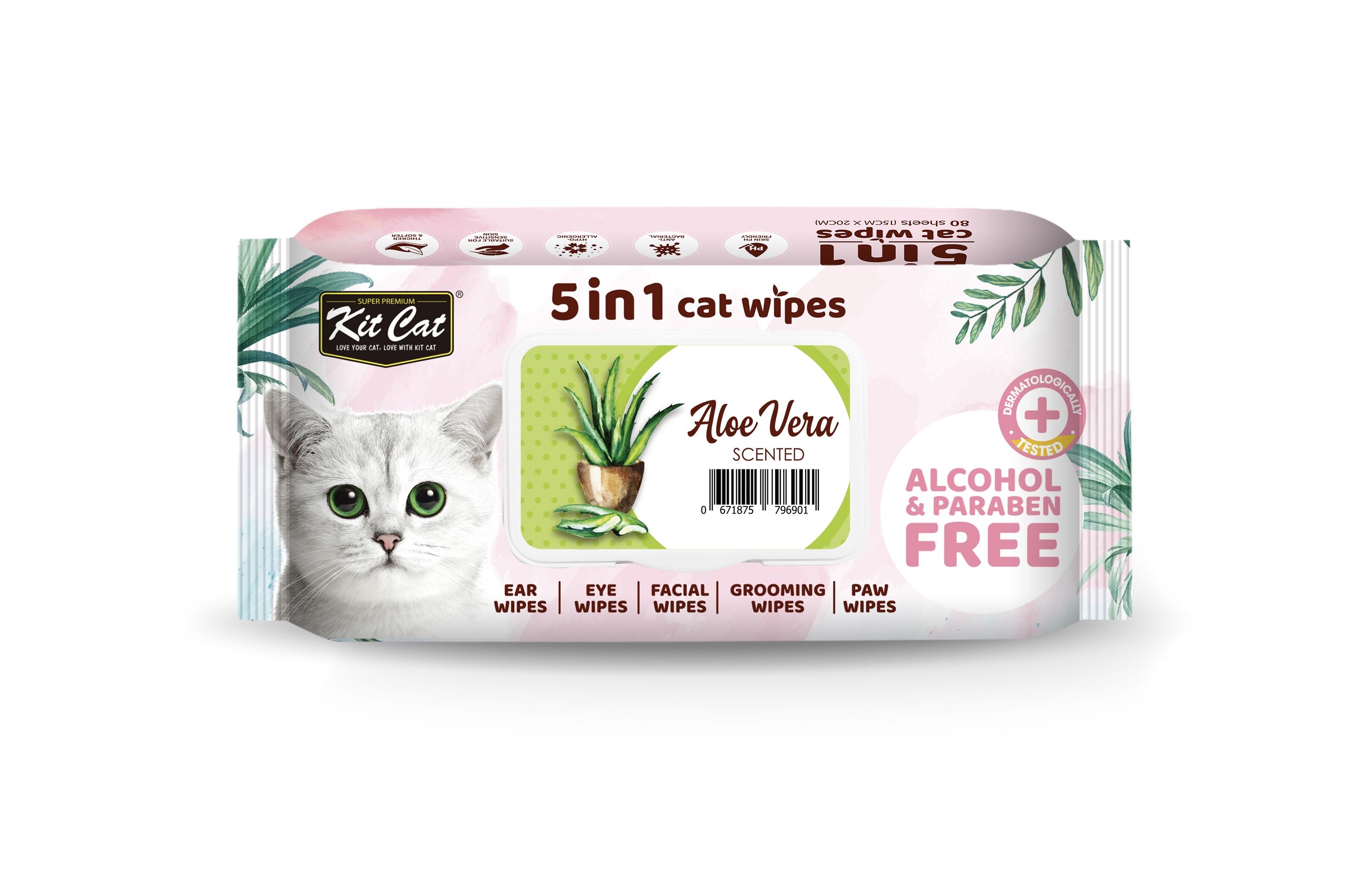 Servetele umede pentru pisici, Kit Cat 5in1 Aloe Vera, 80 buc imagine
