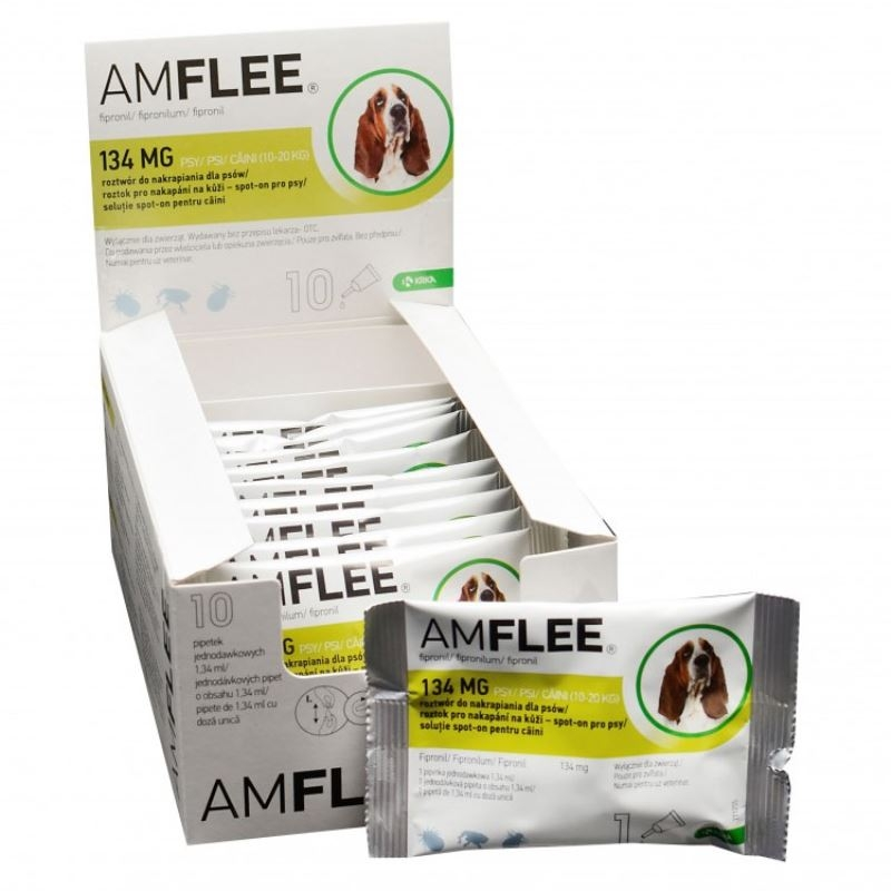 AMFLEE DOG 134 mg spot-on, M (10-20 Kg), 10 pipete imagine