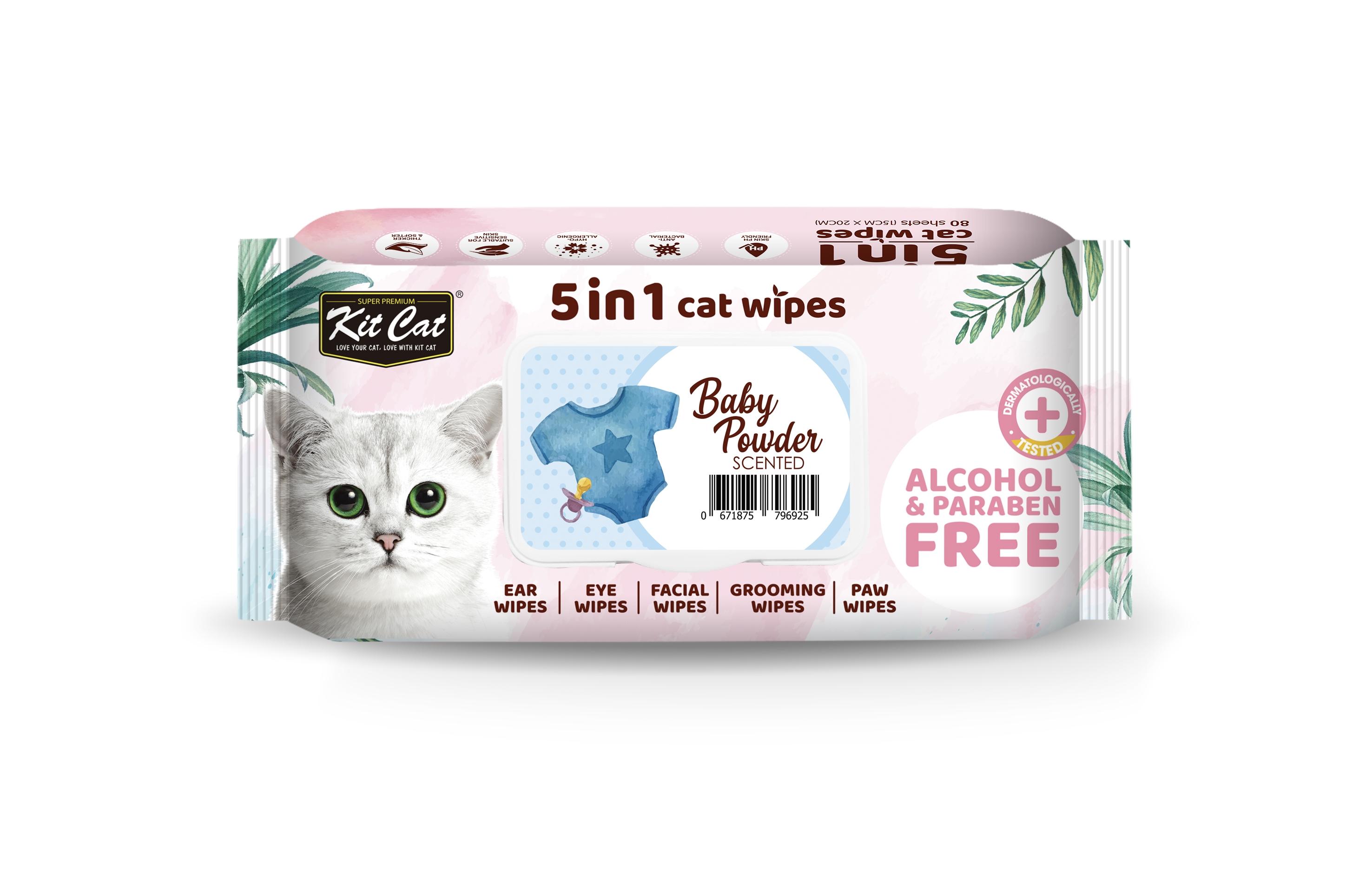 Servetele umede pentru pisici, Kit Cat 5in1 Baby Powder, 80 buc imagine