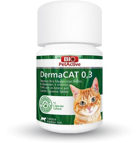 Supliment vitamino-mineral, Bio PetActive DermaCAT 0.3, 75 tbl imagine