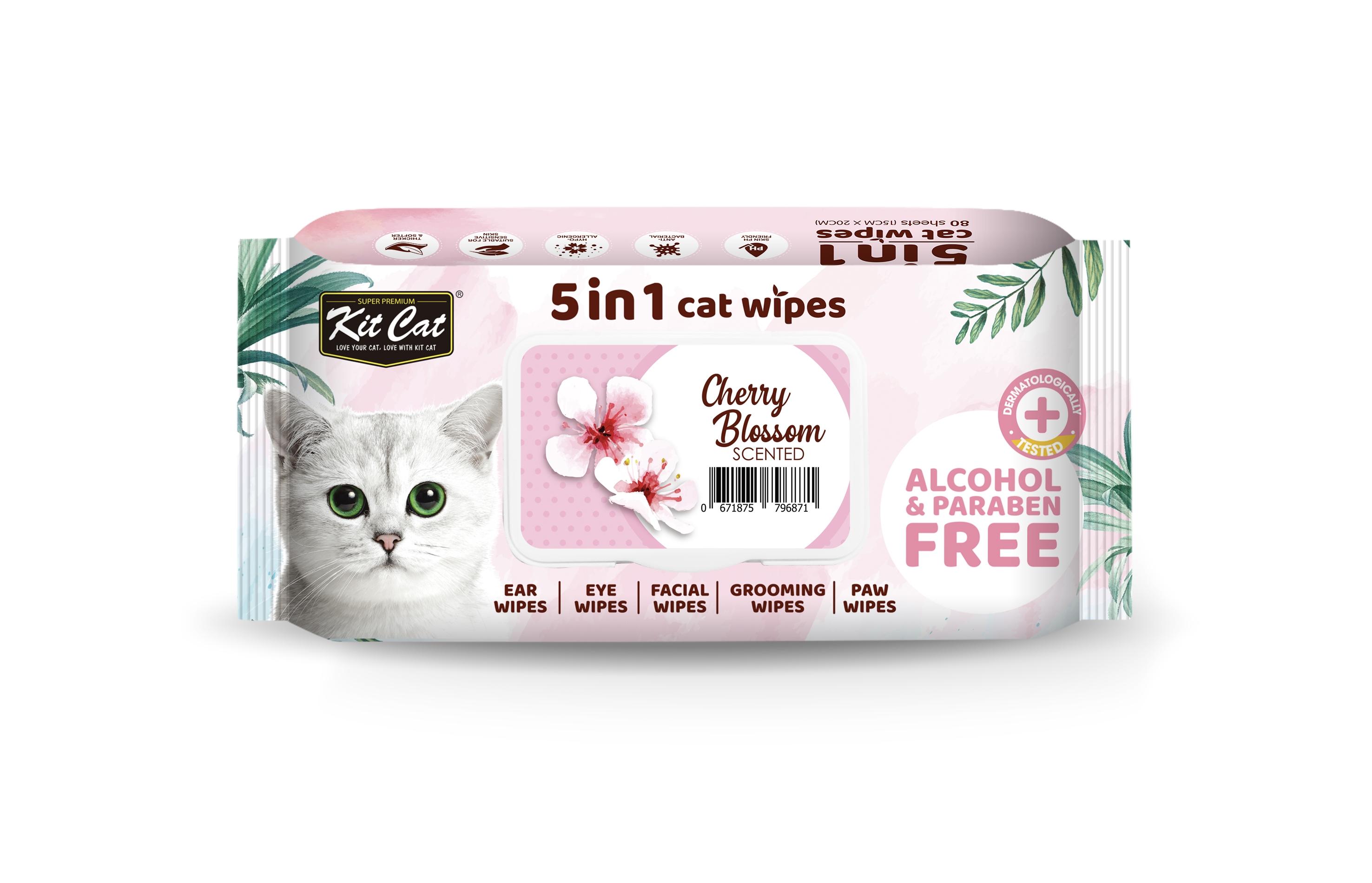 Servetele umede pentru pisici, Kit Cat 5in1 Cherry Blossom, 80 buc imagine