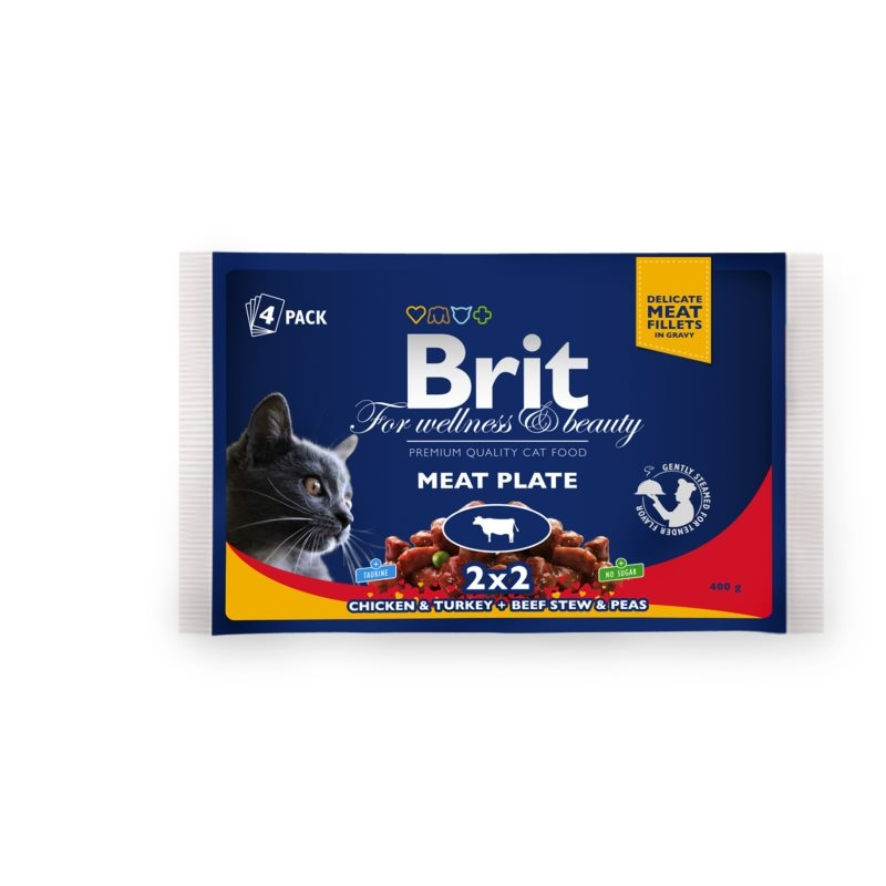 Brit Premium Cat Multipack Felii De Carne 4 Plicuri X 100 Gr