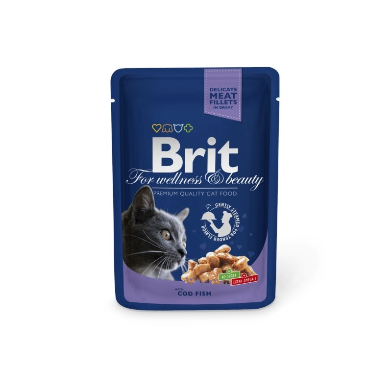 Brit Premium Cat plic cu carne de cod, 100 gr imagine