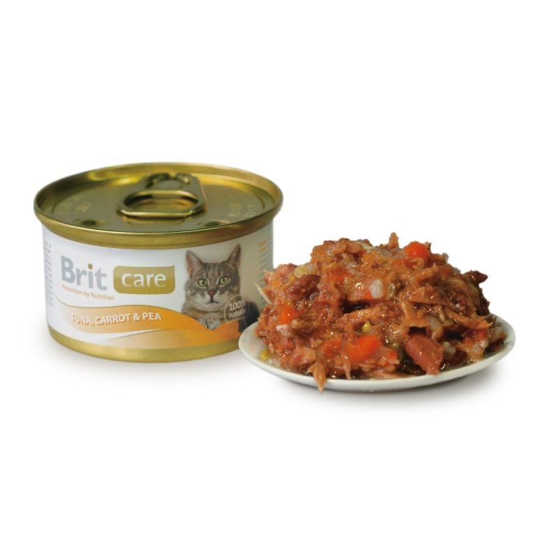 Brit Care Cat Tuna, Carrot and Pea, conserva, 80 g imagine