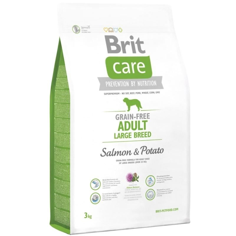 Brit Care Grain-free Adult Large Breed Salmon and Potato, 3 kg imagine