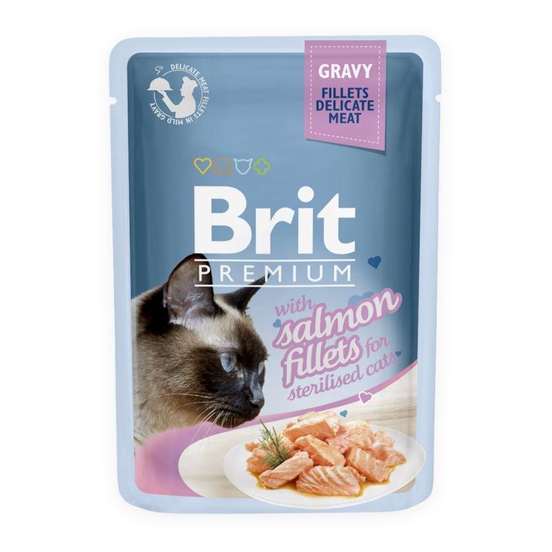 Brit Cat Delicate Salmon in Gravy for Sterilised, 85 g imagine