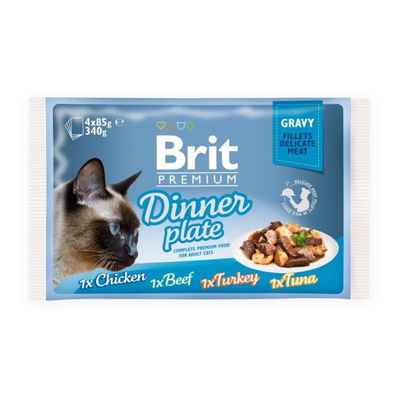 Brit Cat Mpk Delicate Dinner Plate In Gravy, 4 X 85 G imagine