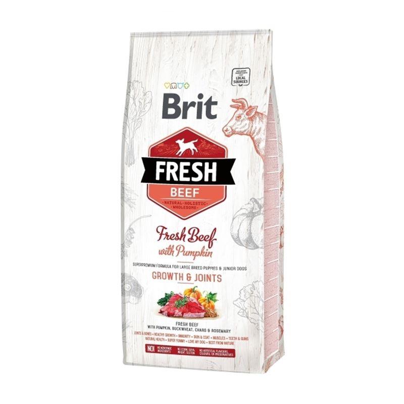 Brit Fresh Beef with Pumpkin Puppy Large Bones & Joints, 12 kg imagine