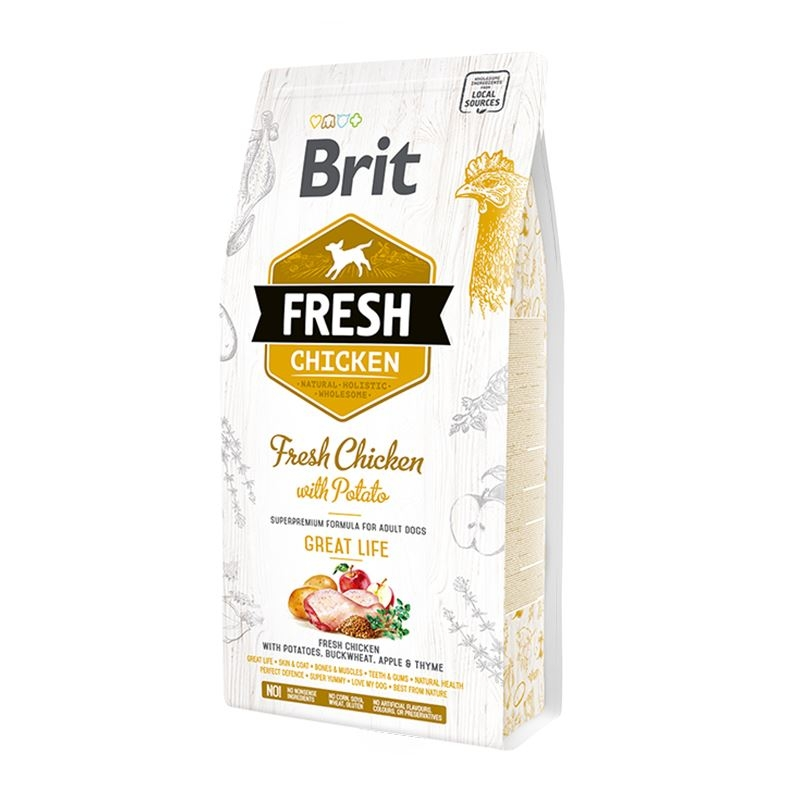 Brit Fresh Chicken and Potato Adult Great Life, 12 kg imagine