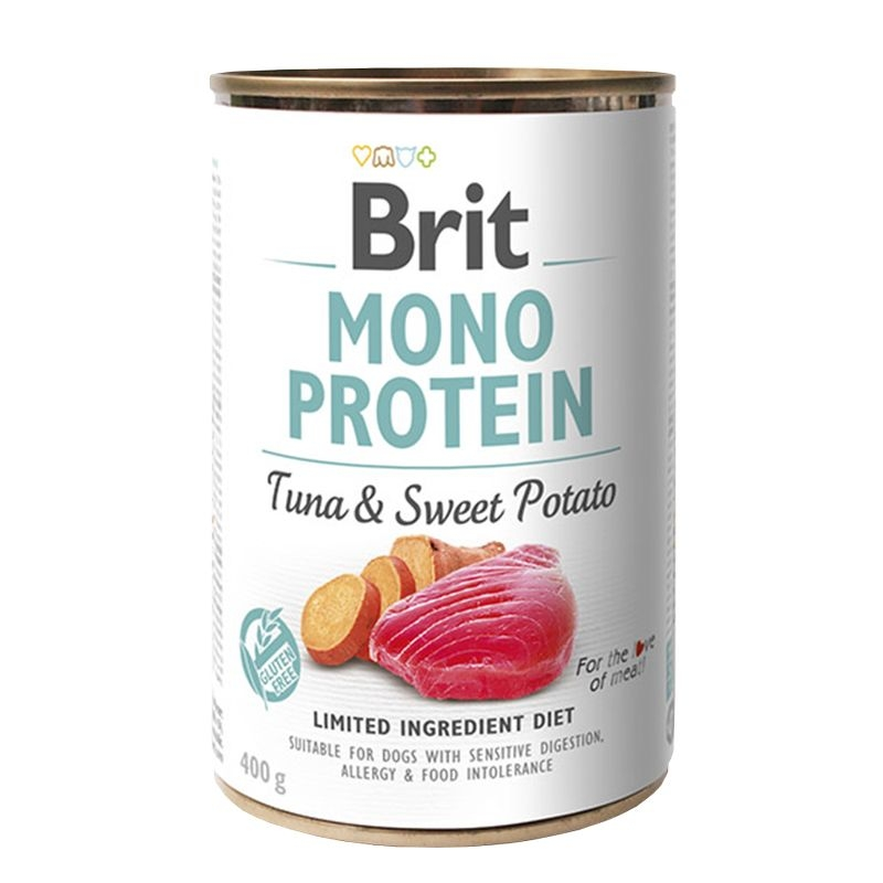Brit Mono Protein Tuna & Sweet Potato, 400 g imagine