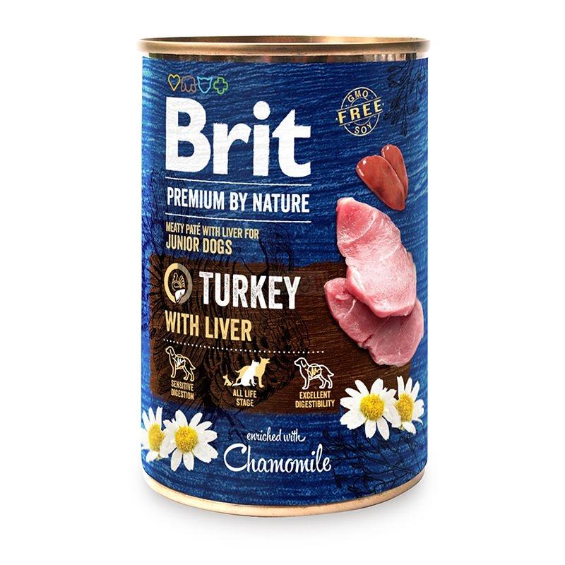 Brit Premium by Nature Junior Dogs, Turkey with Liver, 400 g imagine