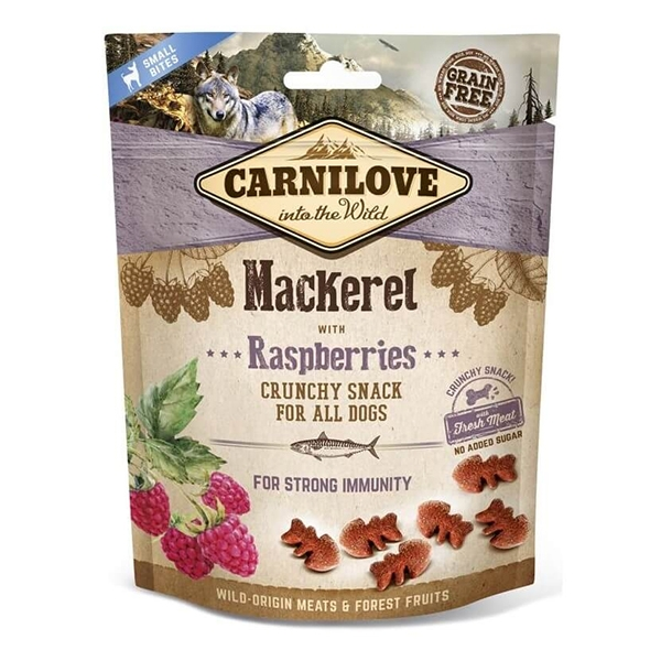 Carnilove Dog Crunchy Snack Mackerel with Raspberries, 200 g imagine