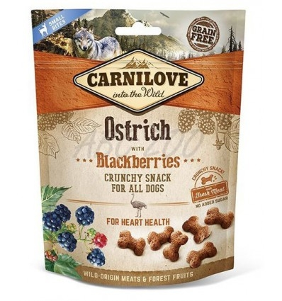 Carnilove Dog Crunchy Snack Ostrich With Blackberries, 200 g imagine