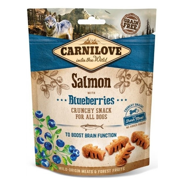 Carnilove Dog Crunchy Snack Salmon with Blueberries, 200 g imagine