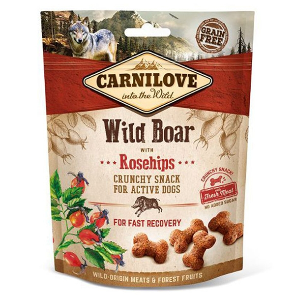 Carnilove Dog Crunchy Snack Wild Boar with Rosehips, 200 g imagine