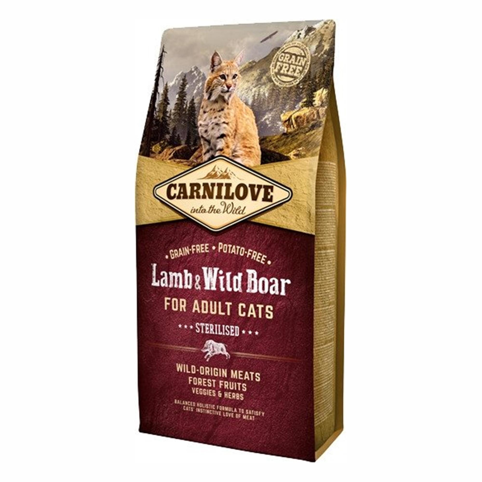 Carnilove Lamb & Wild Boar Cats Sterilised, 6 kg imagine