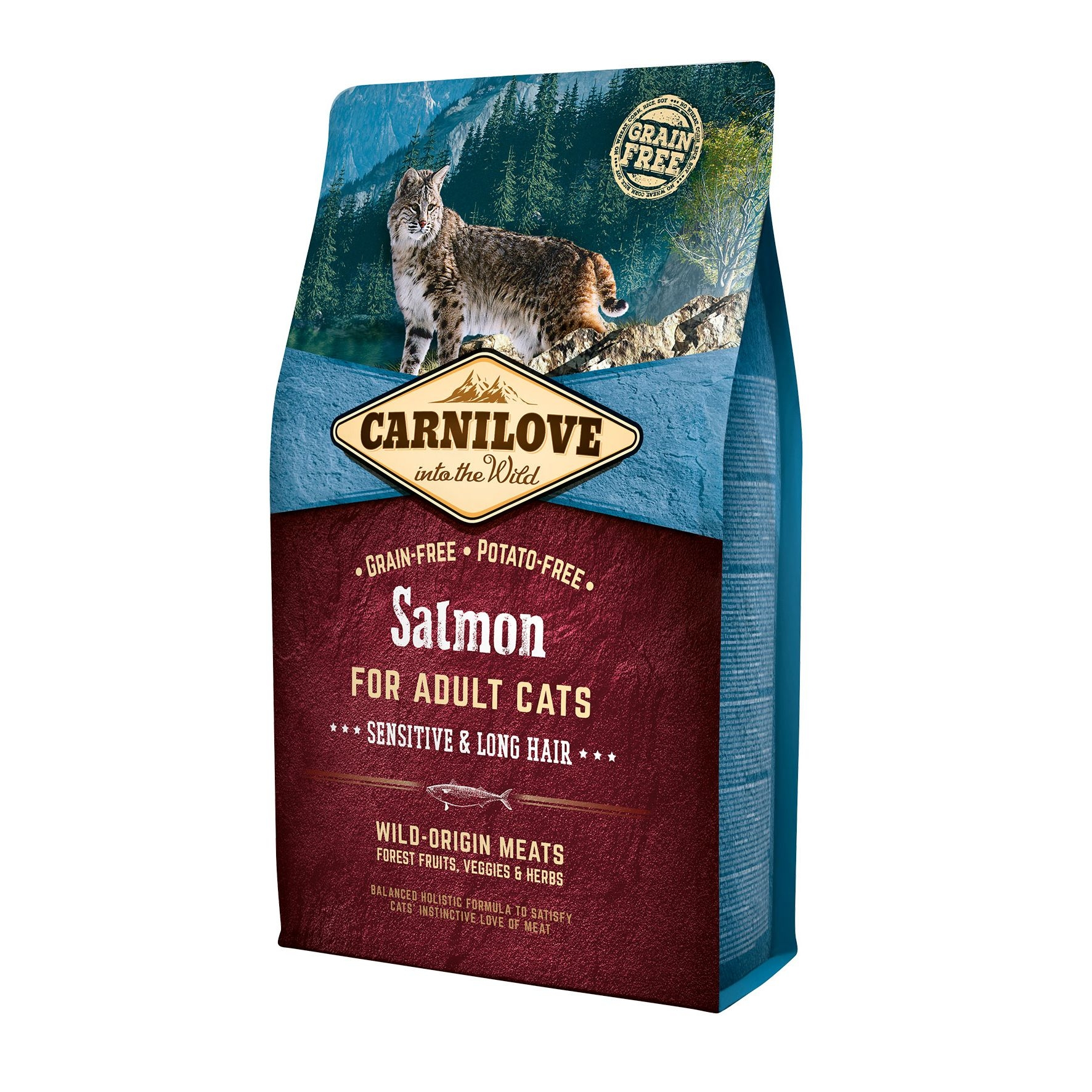 Carnilove Salmon Cats Sensitive & Long Hair, 2 kg imagine