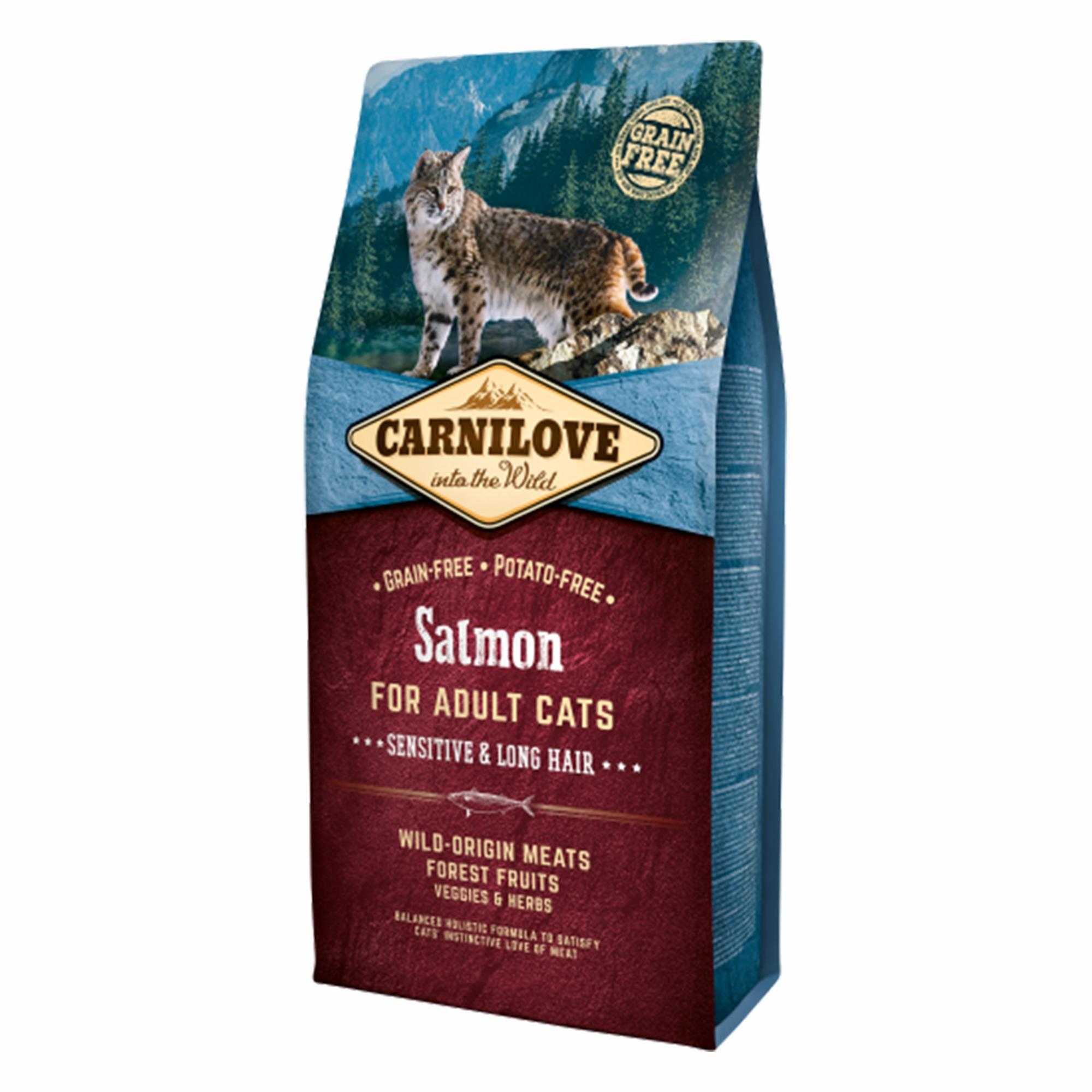 Carnilove Salmon Cats Sensitive & Long Hair, 6 kg imagine