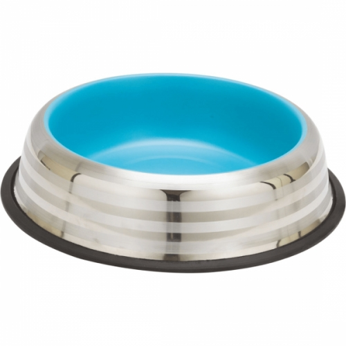 Castron din inox, Enjoy Blue&Silver Stripes, 470 ml imagine