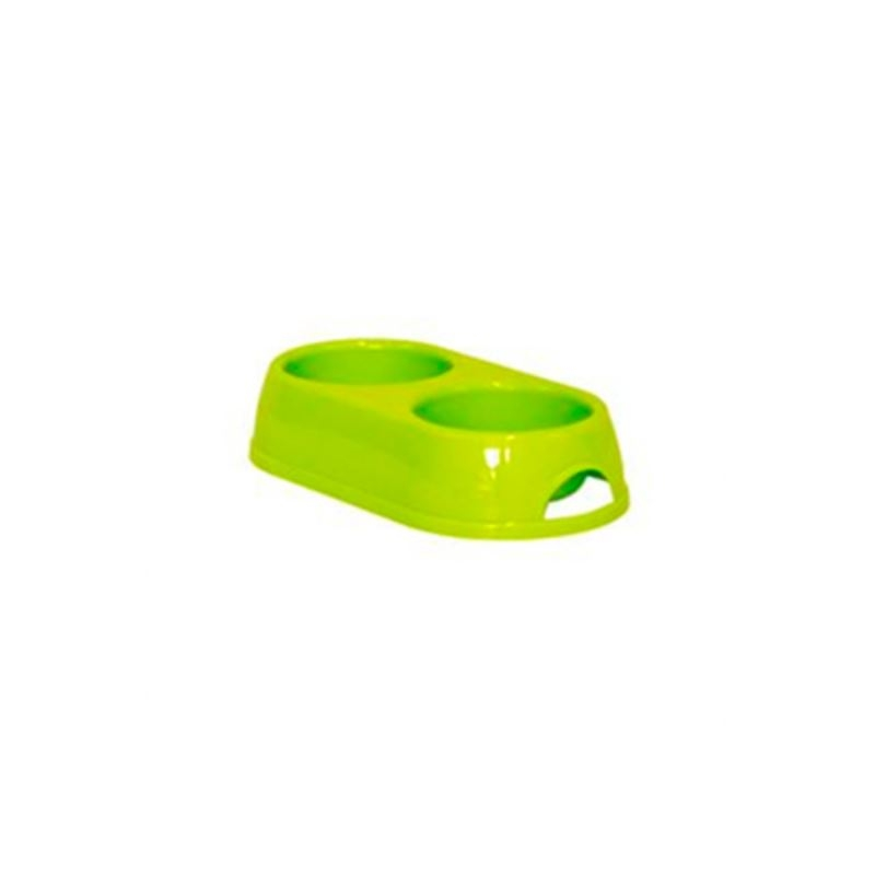 Castron dublu plastic caine, verde, 2 x 0.23 l imagine