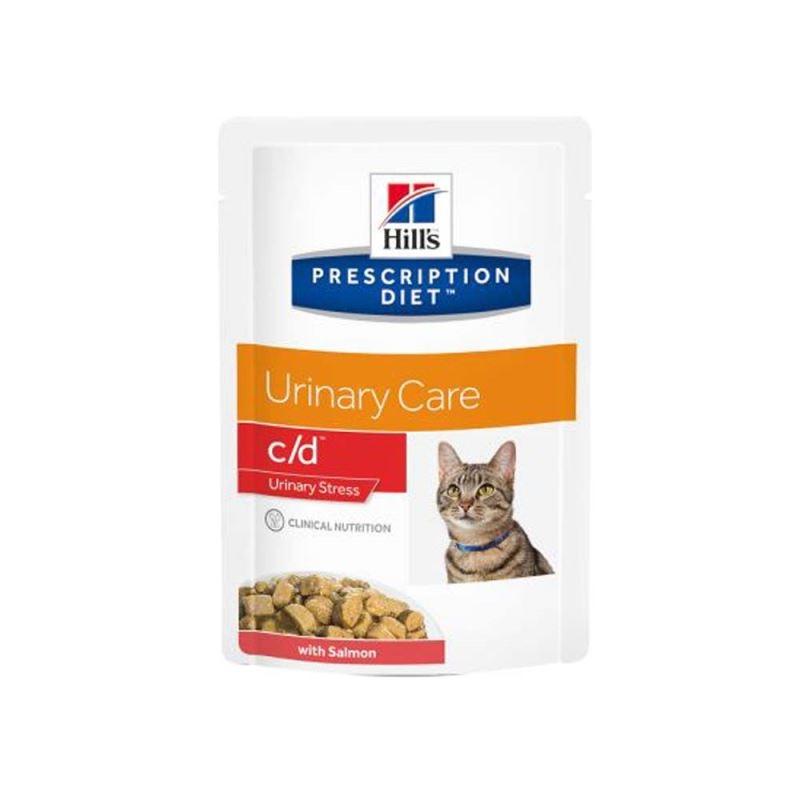 Hill's PD c/d Urinary Stress Urinary Care hrana pentru pisici cu somon 85 g (plic) imagine