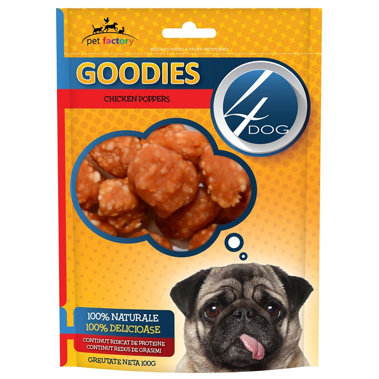 Recompense caini, 4Dog Goodies, Chicken Poppers, 100g imagine