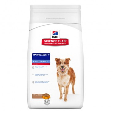 Hill's SP Mature Adult 7 Plus Active Longevity hrana pentru caini cu miel si orez 12 kg