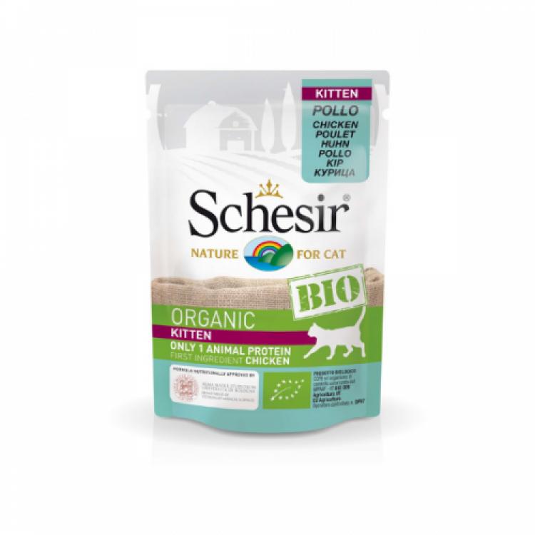 Schesir Bio For Kitten, Pui, 85 g