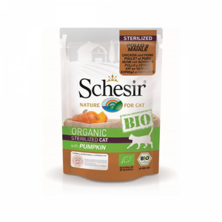 Schesir Bio For Sterilized Cat, Pui, Porc şi Dovleac, 85 g