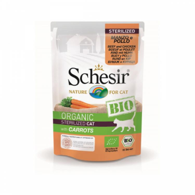 Schesir Bio For Sterilized Cat, Vita, Pui si Morcovi, 85 g