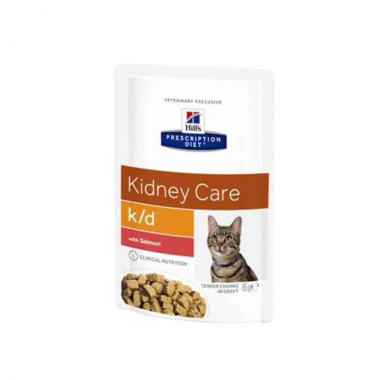 Hill's PD k/d Kidney Care hrana pentru pisici cu somon 85 g (plic)
